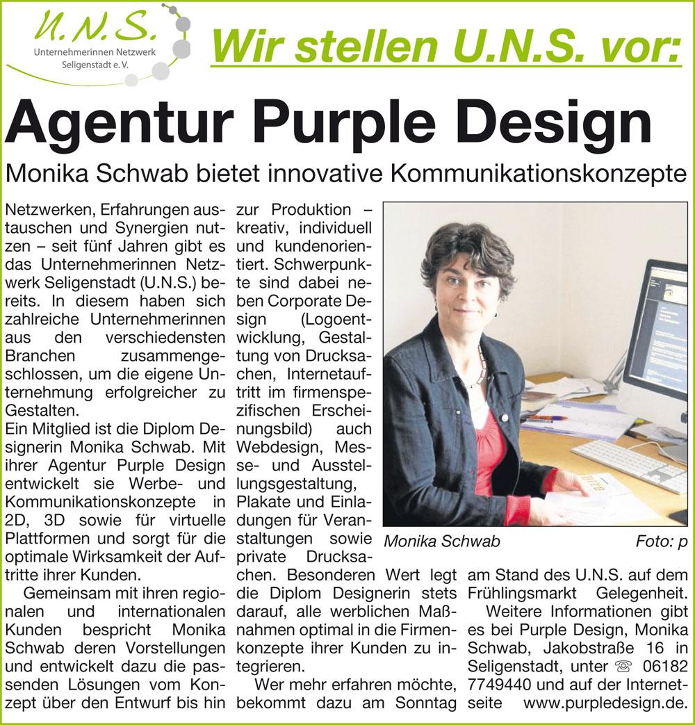 Purple Design Monika Schwab Presseartikel